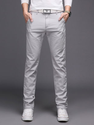 Picture of Men's Straight Leg Pants Solid Color Breathable Comfy Casual Pants