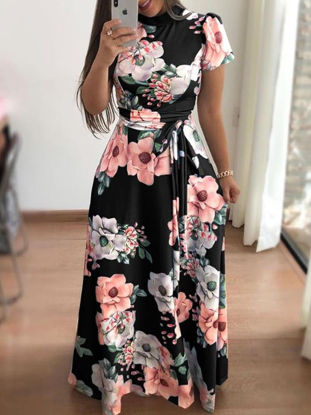 Picture of Women's Maxi Long Dress Short Sleeve Stand Collar Floral Sheath Dress