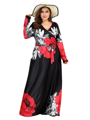 صورة Women's Plus Size Maxi Long Aline Dress Fashion V Neck Floral Print Dress