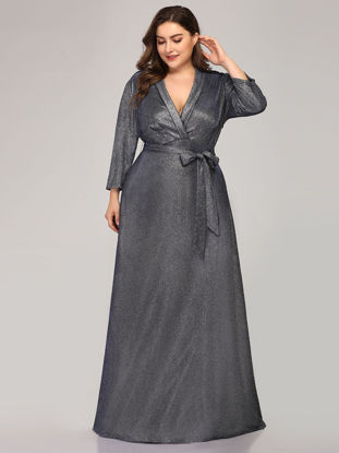 صورة Ever-Pretty Women's Plus Size Full Dress V Neck Sash Long Sleeve Dress