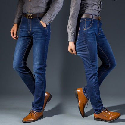 Picture of Men's Jeans Solid Color Mid Waist Straight Jeans