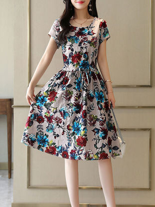 Picture of Women's Aline Dress Bow Decoration Print Short Sleeve Dress