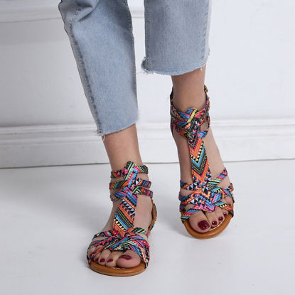 Picture of Women's Flat Sandals Ethnic Color Block Beach Style Open Toe Shoes