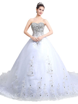 Picture of Women's Wedding Dress Lace Appliques Rhinestones Ornament Long Wedding Dress