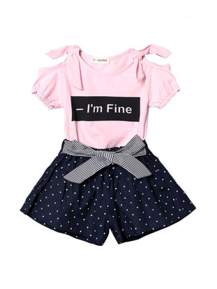 Picture of Baby Girl's Shorts Set 2 Pcs Letter Short Sleeve T Shirt Baby Clothes