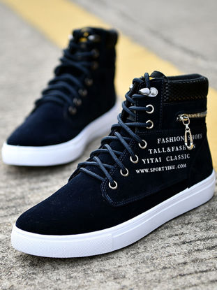 صورة Men's Sneakers All Match Letter Pattern Lace Up Shoes