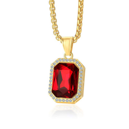 Picture of Stainless Steel Square Crystal Necklace Pendant Men Jewelry Free 60cm Chain