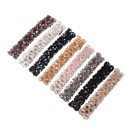 صورة 5 Pcs Women's Hair Clips Set Solid Color DIY Shiny Rhinestone Design Hair Accessories