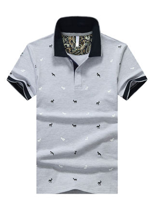 Picture of Men's Polo Shirt Turn Down Collar Print Slim Fashion Top