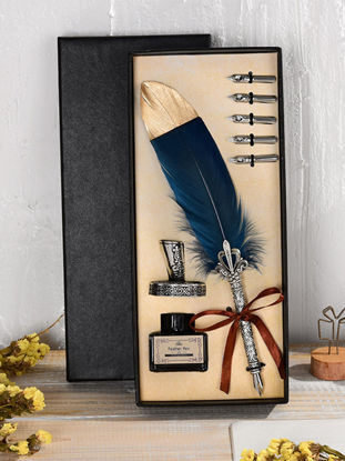 Picture of 1 Set Students Stationery Gift Vintage European Style Feather Pen Set Creative Birthday Gift