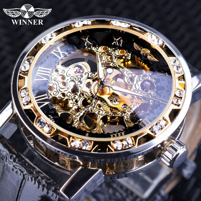 Picture of Men Mechanical Watches Diamond Retro White Gold Display Men's Skeleton Watches