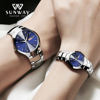 Picture of Couple Watches Luminous Stainless Steel Band Waterproof 2Pcs Watches Accessory