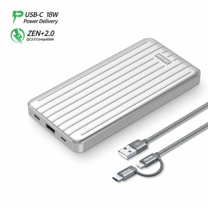 Picture of Zendure Ultra-Slim Power Bank 10000mah USB C, 18W PD+QC 3.0 Portable Phone Charger, Fast Charge External Battery Pack for Nintendo Switch, Samsung Galaxy S9/S9 Plus, iPhone X/8, HTC and More-Silver