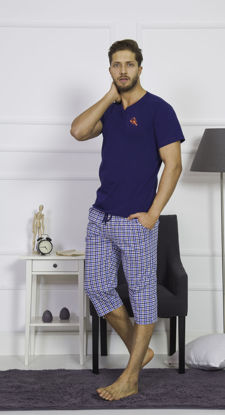 صورة ENKI MEN COTTON INDIGO CAPRI SET
