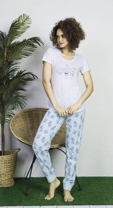 صورة ENKI WOMEN COTTON GRAY MELANGE PAJAMA SET