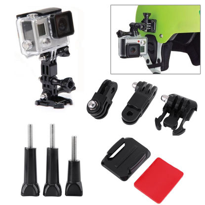 صورة 3-WAY ADJUSTABLE HELMET SIDE MOUNT & CURVED ADHESIVE MOUNT PIVOT SET FOR GOPRO HERO 5 HERO 4 SJCAM