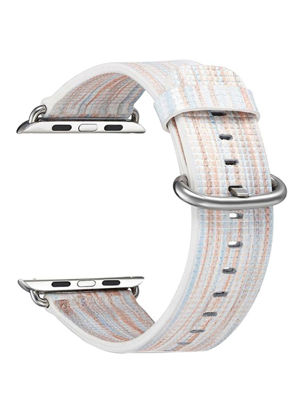 صورة Replacement Leather Colored Pattern Stripes Multicolor Band for Apple Watch 38mm Series 3 / 1 / 2