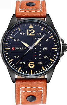 Picture of Curren 8224 Men's Analog Waterproof Sport Quartz Wrist Watch With Leather Band - Black