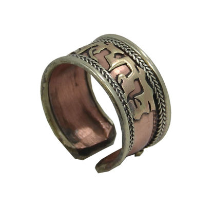 صورة DharmaObjects Handmade Copper and Brass Ring with Crafted Om Mani Padme Hum