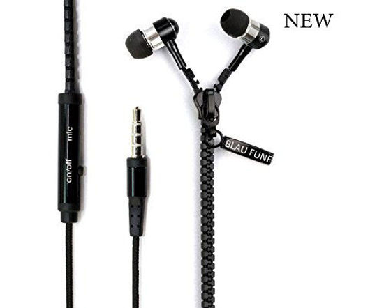 Picture of Tangle-Free Zipper Headphones With Mic Black