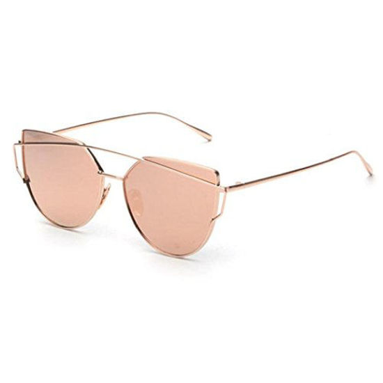 Picture of Unknown Cat Eye Mirrored Flat Lenses Street Fashion Vintage Metal Frame Sunglasses For Men/Women