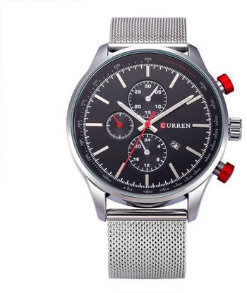 Picture of Curren 8227 Men's Analog With Date Waterproof Steel Band Sport Watch - Black dial and Silver band