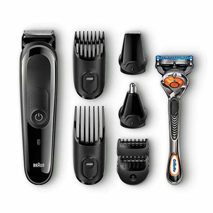 Picture of Braun MGK3060 8-in-1 All-in-One Beard Trimmer for Men, Cordless Hair Clipper, Black/Grey, with 6 Attachments and Gillette ProGlide Razor