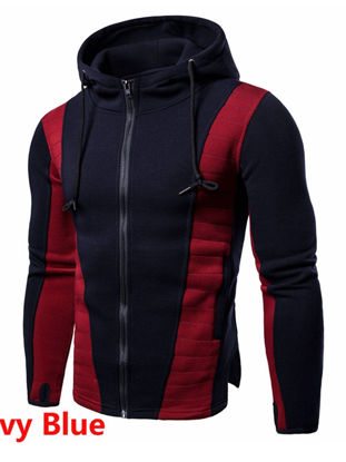 صورة Men's Hoodie Slim Patchwork Long Sleeve Color Block Zipper Hoodie  XXL