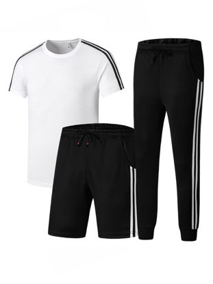 صورة Men's 3Pcs Pants Set Short Sleeve T Shirt Sport Shorts Pants Set 4XL