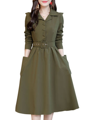 صورة Women's Aline Dress Solid Color Notched Collar Pocket Dress 3XL
