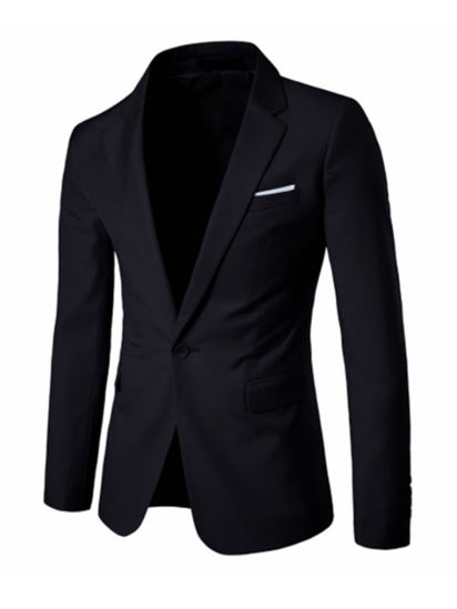 صورة Men's Blazer Notched Collar Long Sleeve Solid Color Slim Blazer XL