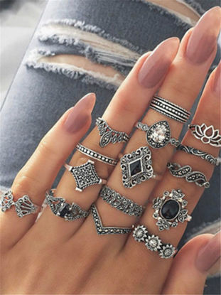 صورة Women's 15 Pcs Ring Set Retro Stylish Hollow Floral Design Ring Suit One Size