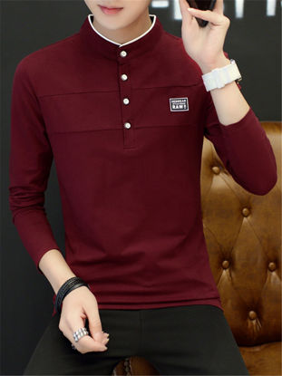 صورة Men's T Shirt Stand Collar Casual Slim Long Sleeve T Shirt
