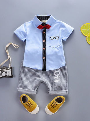 صورة Boy's 2 Pcs Set Casual Short Sleeve Shirt Stripe Comfy Shorts Set