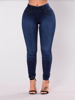 Picture of Women's Jeans Mid Waist Slim Fit Simple Style Casual Denim Pants