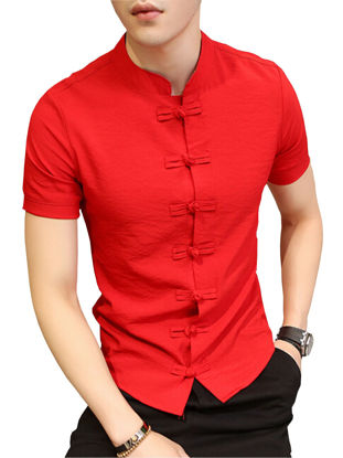 صورة Men's Traditional Short Sleeve Short Single Frog Breasted Casual Slim Shirt