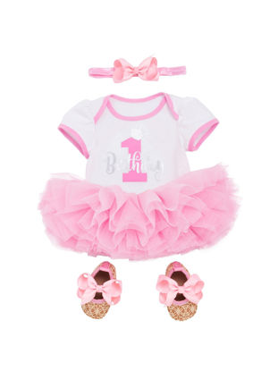 Picture of Baby Girl's Clothes Letter Pattern Short Sleeve Jumpsuit Tutu Skirt Shoes And Hairband