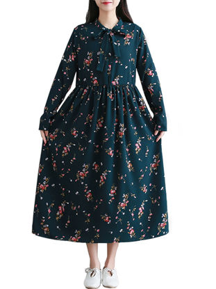 صورة Women's Aline Dress Long Sleeve Floral Pattern Midi Dress