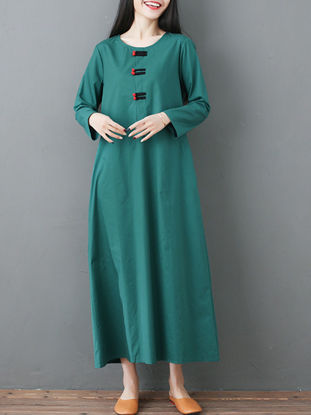 صورة Women's Aline Dress Loose O Neck Embroidery Dress