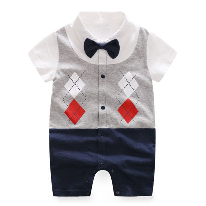 صورة Baby Boy's Rompers Short Sleeve Bowknot Decor Print Baby Wear