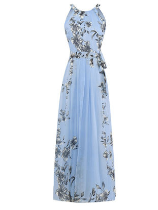 صورة Women's Plus Size Aline Dress Floral Sleeveless Bow Beach Maxi Long Dress