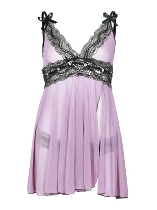 صورة Women's Nightwear Sexy Lingerie Lace Hem Bow V Neck Sleeveless Split Charming Babydolls