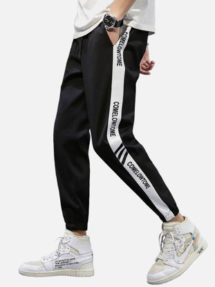 Picture of Men's Casual Pants Ankle-Tied Drawstring Color Block Letter Striped Loose Trousers