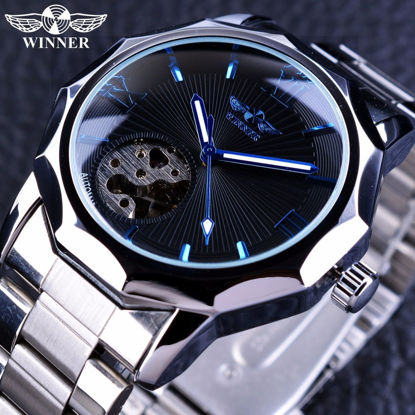 Picture of Men's Mechanical Watch Skeleton Design Stainless Steel Business Trendy Watch