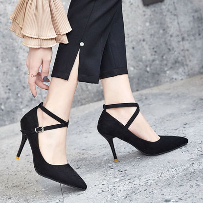 Picture of Women's High Heel Pumps Solid Color Pointed Toe Elegant Thin Heel Shoes