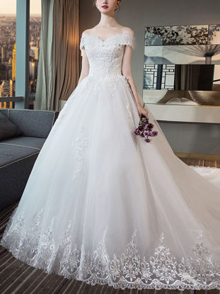 صورة Women's Wedding Dress Slash Neck Lace Slim Fit Elegant Court Train Wedding Dress
