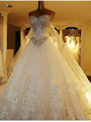 صورة Wedding Dress Rhinestone Inlay Exquisite Bridal Tee Dress