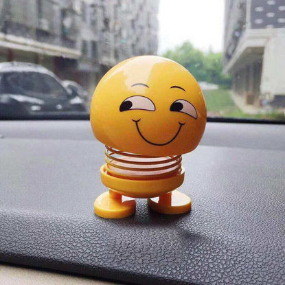 Picture of 1Pc Bobblehead Shaking Fun Emoji Head Ornaments Outdoor Doll For Car Action Statue