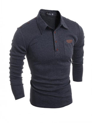 صورة Men's Polo Shirt Long Sleeve Retro Solid Color Casual Shirt