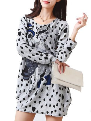 صورة Women's Dress Long Sleeve Polka Dot Cartoon Pattern Mini Dress